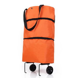Wholesale cart wheels for sale - Group buy FGGS Folding Shopping Pull Cart Trolley Bag with Wheels Foldable Shopping Bags Grocery Organizer Vegetables Bag