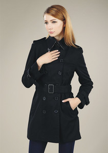 HOT CLASSIC WOMEN FASHION ENGLAND MIDDLE LONG TRENCH COAT HIGH QUALITY DOUBLE BREASTED BELTED TRENCH FOR WOMEN S-XXL