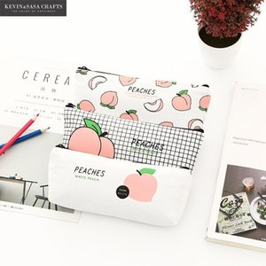 Wholesale peach pencil case resale online - Peach Pencil Case Quality Fabric School Supplies Stationery Gift Pencilcase School Cute Pencil Box Tools Bag1