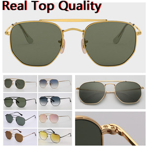 Wholesale double lenses for sale - Group buy mens sunglasses designer sunglasses hexagonal double bridge fashion sunglasses UV glass lenses with leather case and all retail packages