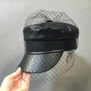 XCYB Spring and summer New black PU lace veil newsboy caps Fmale fashion hats 201013