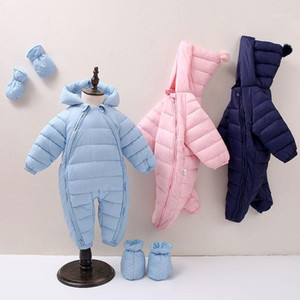 Wholesale snow suits for sale - Group buy 2020 Toddler Snow Suit Baby Girl Cotton Overalls Rompers Newborn Baby Jumpsuit Hooded Plus Velvet Warm Boys Snowsuit1