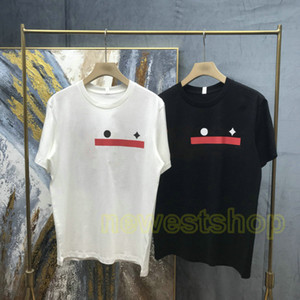 Wholesale letter blocks resale online - 2021 Summer Europe designer brand mens paris star red Letter striped block tshirt button shoulder t shirts Fashion t shirt Casual tee top