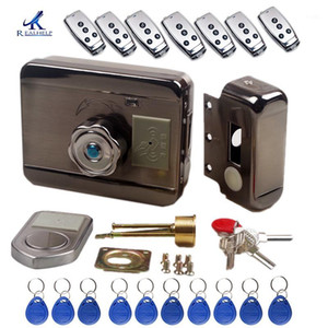 Wholesale electronics door locks resale online - No wire household access control electronic lock stainless steel door swipe card lock Rfid ID Remote smart1