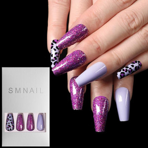 Wholesale matte nails resale online - 24Pcs Set Full Cover False Nail Tips Super Long Ballerina Wearable Nail Art Manicure Matte Tips Coffin Fake Nails with Glue