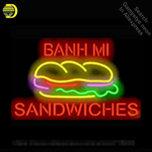 Wholesale mi bulb resale online - Banh Mi Sandwiches Neon Sign Commercial Neon Bulbs Real Glass Tube Shops Display Handicrafted Recreation Room Attract x15 VD