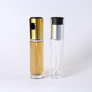 Wholesale lemon juice bottle for sale - Group buy 100ml Cylindrical Shape Glass Oil Pot Empty Plated Gold Silver Spray Bottle Press Type ABS Lemon Juice Barbecue Bottles Hot Sale by G2