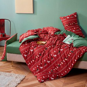Wholesale christmas bedding for sale - Group buy Christmas New Bedding Set Autumn And Winter Knitted Cotton Printing Four piece Suit Soft Comfortable Duvet Cover Bedding Textile