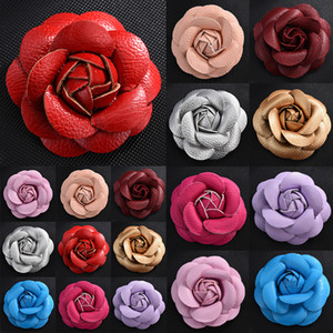 Women Quality Leather Camellia Flower Brooch Pins Women Pin Brooch Suit Sweater Shirt Pin Brooch Handmade DIY Accessories