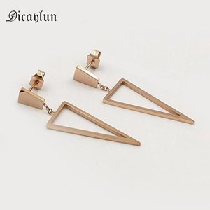 Wholesale earings for girls resale online - DICAYLUN Stainless Steel Drop Earrings For Women Triangle Rose Gold Geometric Hanging Fashion Earings Metal Jewelry Girl Gifts