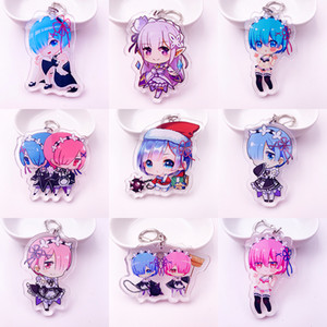 japan anime keychain großhandel-Japan Anime Re Null Acryl twoside Druck Keychain Art Rem Ram Emilia Cartoon Figuren Keyrings Portachiavi Spielzeug K0118