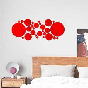 ingrosso cerchi arte a parete-Acrilico Home Decor Wall Stick Portico Soggiorno Specchio Adesivi Big Small Circle Camera da letto Piastrelle Decalcomania Corridoio Art Decorare Vendita calda hy G2