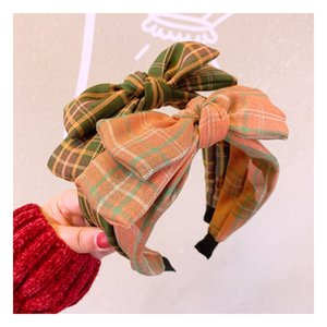 Wholesale layers hair styles for sale - Group buy INS Big Girls Bowknot Hair Accessory British Style Plaid Double layer Bowknot Hair Sticks Woman Checkered All match Headband S818