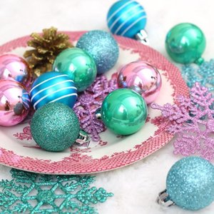 Wholesale christmas ornament kits resale online - 24Pcs Colorful Christmas Ball Ornaments Snowflake Pendants Kit Shatterproof Christmas Tree Baubles Ornament Xmas Decorations1