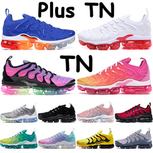 ingrosso luci spente-2019 Nike Air Vapormax TN Plus Bumblebee Uomo Donna Geometric Active Fuchsia Nero Bianco Lemon Lime USA Gioco Royal Wolf Grey Sneaker Sport Sneakers