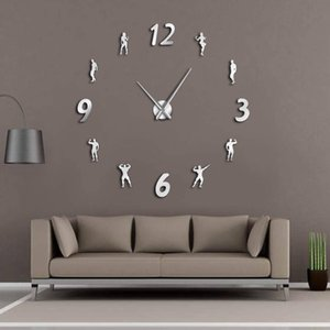 Wholesale mirror fitness resale online - Gym DIY Wall Clock Modern Keep Fit Bodybuilding Lose Weight Fitness Frameless Wall Watch Giant D Mirror Wall Sticker Clock