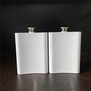 Wholesale alcohol silver bottle resale online - 8oz Blank Sublimation Flask Portable Stainless Steel Hip Flask Flagon Whisky Wine Alcohol Bottle VT1930