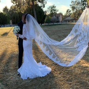 Wholesale veil for sale - Group buy Best Selling Luxury Real Image Wedding Veils Three Meters Long Veils Lace Applique Crystals Two Layers Cathedral Length Cheap Bridal Veil