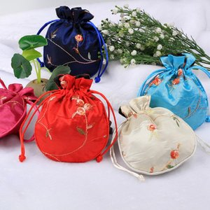 Wholesale beaded door for sale - Group buy Portable Rounded Drawstring Embroidery Pouch Jewelry Silver Beaded Storage Bag Delicate Durable Embroidered Storage Bag OWD2604