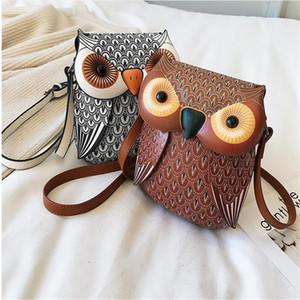 Wholesale shapes owl for sale - Group buy Brand Owl Shape Shoulder Bag Mini Messenger Bag Cute Cartoon Leather Bags For Girls Crossbody Phone Bag C0202