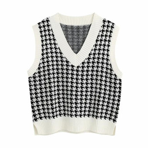 Wholesale girls sweaters for sale - Group buy Fashion Oversized Houndstooth Knitted Vest Sweater for Women Girls Vintage Sleeveless Side Vents Female Waistcoat Chic Tops