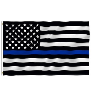 Wholesale thin blue line for sale - Group buy Thin Blue Line Flag American Police Flags x5FT USA General Election Country Banner for Trump Fans W77