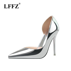 ingrosso shose punta-LZZF Fashion Wedding Office Shose Donne Tacchi alti Sexy Modis Black Pointed Toe Elegante Signore Pompe Argento Scarpe Donna Hakken