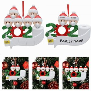 Christmas Tree Decor Quarantine Ornaments Survivor Family of 2 3 4 5 6 7 Face Masks Hand Sanitized Customiz Christm Decorating Creative Toys