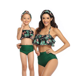 Wholesale gold mommy for sale - Group buy mother daughter Plaid swimsuits mommy and me swimwear bikini clothes mom baby matching clothing Y200713