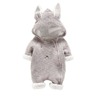 Wholesale 2years boys clothes for sale - Group buy Newborn Infant Baby Romper Boy Girl Cute Cartoon Hooded Rabbit Ear Long Sleeve Jumpsuit Winter Clothes Christmas M Years Old