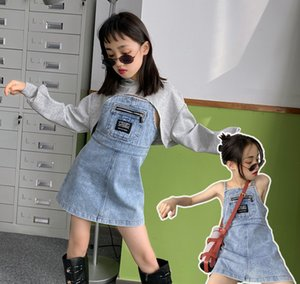 Wholesale cowboy outfits for sale - Group buy Trendy Kids Denim Outfits Spring New Children Hooded Hole Sweatshirt Denim Suspender Dress Girls Cowboy Casual Sets A5551
