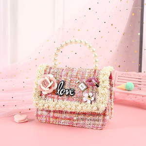 Wholesale handbag for children girls resale online - Children Mini Handbags Cute Pearl Crossbody Bags for Kids Girl Princess Party Purse Kids Coin Wallet Hand Bag Gift1