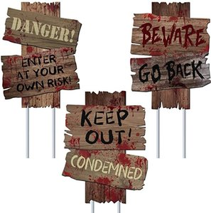 Wholesale beware signs for sale - Group buy Halloween Decorations Beware Signs Yard Stakes Outdoor Creepy Assorted Warning Sign Scary Zombie Theme Party Decor Supplies HH9