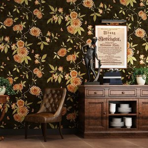 Wholesale black green wallpapers resale online - High Quality American Country Vintage Wallpaper Black Light Green TV Background Big Flower Paper Wallpaper Roll1