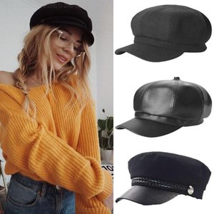 Wholesale captain hats resale online - Fashion Women Men Hat Spring Autumn Sailor Hats Black Ladies Beret Caps Flat Top Captain Cap Travel Cadet Octagonal Hat