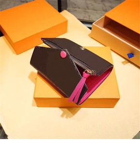 2020 Top quality women original box purses luxury real leather multicolor short wallet Card holder classic zipper pocket wallets