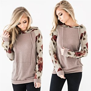 Womens Casual Blouses Round Neck Comfy Tops Floral Hoodies Long Sleeve Drawstring Casual Lightweight Sweatshirts Pullover Tops with Pockets