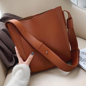 Wholesale belt buckets for sale - Group buy High Capacity Solid Color PU Leather Crossbody Bags For Women Bucket Bags Ladies Handbags With Wide Belt Travel Handbags