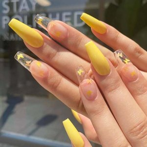 Wholesale long french nails for sale - Group buy 24Pcs Box Long French False Nail Ballerina Fake Nails Yellow Butterfly Pattern Square Nail Decal False Nails Press On Tips