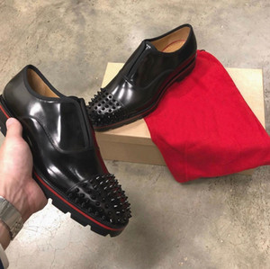 Wholesale mens genuine leather moccasin shoes resale online - Successful Man Loafers For Wedding Dress Party Luxury Red Bottom Hubertus Mens Oxford Walking Genuine Leather Lug Sole Moccasin Walking Shoe