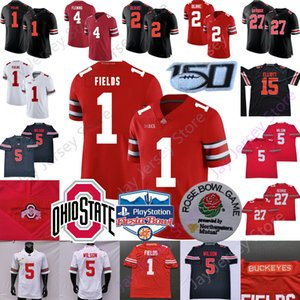 2020 2021 NCAA Ohio State Buckeyes Football Jersey OSU Garrett Wilson Justin Fields Julian Fleming Eddie George Chris Olave Elliott Young