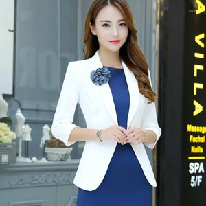 Wholesale dresses suits resale online - 2020 Summer Autumn Casual Small Suit Jacket Women Single Button Quarter Sleeve Work Dress Suit Boutonniere1