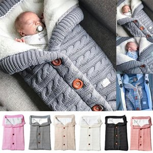 Warm Baby Blanket Knitted Newborn Swaddle Wrap Infant Sleeping Bag Footmuff Cotton Envelope for Stroller Accessories Swaddling Y201001