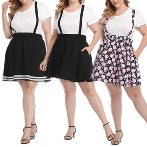 Wholesale overall skirts for sale - Group buy 2021 New Style Fashion Women Plus Size Suspender Skirt Elastic Waist Summer Overall Skater Skirts Clothes Xl xl Black pink