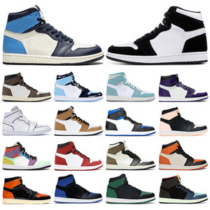 Hot Mens Sneakers Basketball Shoes 1s Dark Mocha UNC Obsidian Turbo Green Twist Court Purple Light Smoke Grey Fearless Women Sports Trainers