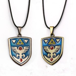Wholesale zelda shield for sale - Group buy Game The Legend Of Zelda Necklace hylian shield Logo Metal Bronze Pendant Necklaces Choker Collar Men Gift Accessory Jewelry1
