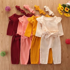 Wholesale girls lace trim resale online - Baby Girl Clothing Set Cotton Button Trimmed Laces Long Sleeve Bow Headband Pants Sashes Solid Color Babies Clothes Sets ym L2