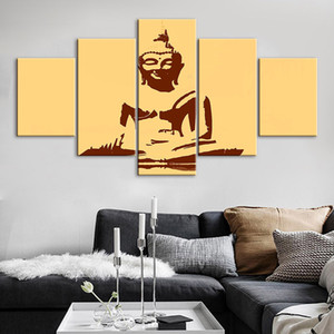 Wholesale golden canvas art set resale online - Canvas HD Printed Abstract Modular Poster Golden Buddha Home Decor Set Painting Wall Art Minimalist Picture For Bedroom