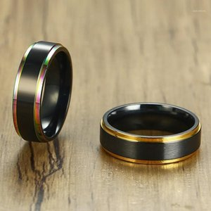 Wholesale stainelss steel resale online - Vnox mm Black Tail Ring for Men Women Stainelss Steel Color Line Edge Unique Band Matte Surface Casual Male Alliance Jewelry1