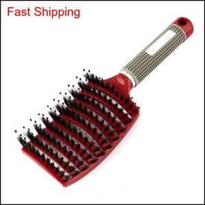 Wholesale curly hair resale online - 2018 Women Hair Scalp Mascomb Bristle Nylon Hairbrush Wet Curly Detangle Hair Brush For Salon Hairdressing Styling Tools S3Vd0 Fbdxb Jviel